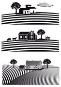 Farm and fields Stock Illustration