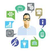 Businessman with work tasks, symbols - stock illustration