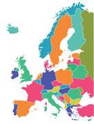 European map - stock illustration