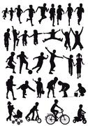 Group of children silhouettes - stock illustration