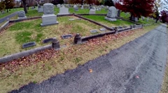 aerial in small cemetery in autumn - stock footage