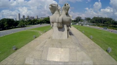 Flying over Bandeiras Monument in Ibirapuera Park, Sao Paulo, Brazil Stock Footage