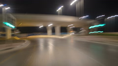 Road and tunnel on the Palm Jumeirah island in Dubai at night, UAE timelapse Stock Footage
