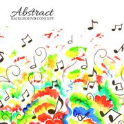 Art colorful music abstract watercolor background Stock Illustration