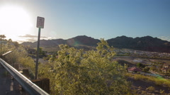 4K UHDlate afternoon Boulder City Lake Mead scenic overlook panorama time lapse - stock footage
