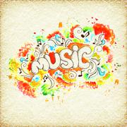 art colorful music abstract watercolor background - stock illustration