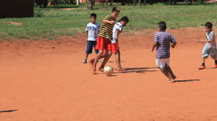 Brazilian indigenous kids playing soccer, Brazil - childrens having fun 12 Stock Footage