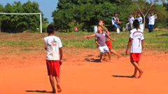 Brazilian indigenous kids playing soccer, Brazil - childrens having fun 13 Stock Footage