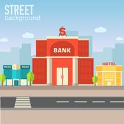 bank building in city space with road on flat syle background - stock illustration