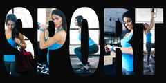 Conceptual collage of sports photos in the form of the word sport Stock Photos