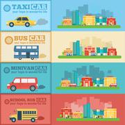 Flat city cars infographic banners traffic background concept - stock illustration
