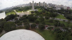 Aerial view of Oca and Ibirapuera park, Sao Paulo, Brazil Stock Footage