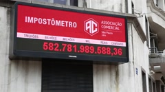 Impostometro (Taxes that people in Brazil are paying) in Sao Paulo, Brazil Stock Footage
