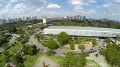 Flying over Ibirapuera Park in Sao Paulo, Brazil Stock Footage