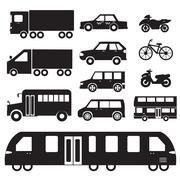 Flat cars concept set icon pictogram illustration design - stock illustration