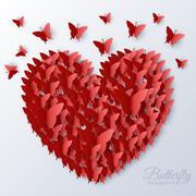 beautiful colorful butterfly heart on valintines day background - stock illustration