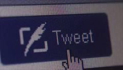 Social Media Macro Close Up DOLLY:  User Clicks Tweet Button - stock footage