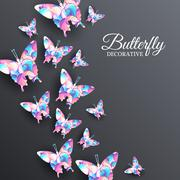 Beautiful colorful butterfly background concept Stock Illustration