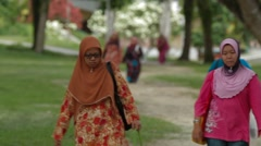 Malay Ladies Walking on USM Campus in Malaysia Stock Footage