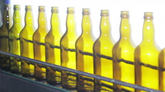 Beer Bottle Manufacturing Machine Line At Brewery Stock Footage