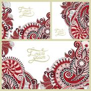 Set of floral decorative background, template frame design Stock Illustration