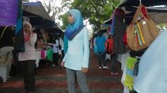 USM Female Students at Sales Carnival in Penang, Malaysia Stock Footage