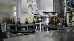Automatic line for bottling beer at the Brewery - stock footage