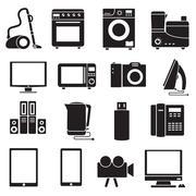 Flat modern kitchen appliances set icons concept - stock illustration