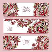 Set of three horizontal banners with decorative ornamental flowe - stock illustration