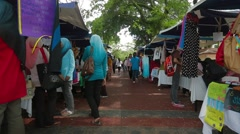 Trucking Shot of An Aisle at Sales Carnival in USM, Penang Stock Footage