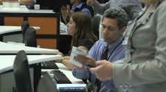Trade show registration booth Stock Footage