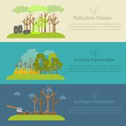 Nature issue deforestation, fire tree and pollution banner style Stock Illustration