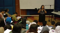 Female Professor Giving A Lecture in Allianze University, Penang, Malaysia Stock Footage