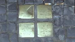 Berlin Stumbling Stones Stock Footage