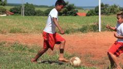 Brazilian indigenous kids playing soccer, Brazil - childrens having fun 14 Stock Footage
