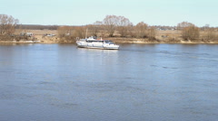 Stock Video Footage of The boat is approaching the opposite shore. The Oka River, Russia