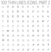 part 2 of collection thin lines pictogram icon - stock illustration