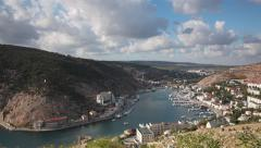 Panoramic view of Balaklava Bay from the hill, Crimea Stock Footage