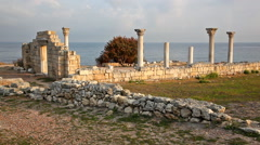 Colonnade of the ancient Greek city of Chersonese, Crimea Stock Footage