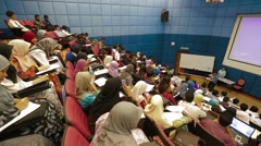 High Angle and Pan Shot of Students Inside A Lecture Hall in Penang Stock Footage