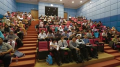 Trucking Shot of Asian Students Inside A Lecture Hall in Allianze University - stock footage