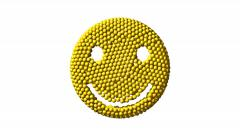 Stock Video Footage of Happy face coalescing from yellow spheres, 3D animation