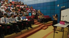 Panning Shot of Professor Teaching A Full Class of Students in Penang Stock Footage