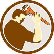 Plumber Holding Monkey Wrench Side Circle Retro Stock Illustration