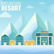 Flat resort mountain concept backgrounds Stock Illustration