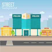 Police building in city space with road Piirros