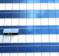 reflex of s  in a window terrace   bangkok thailand - stock photo