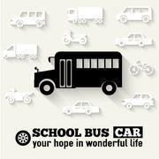 Flat school bus background illustration Piirros