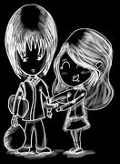 Hand drawn sketch of couple - stock illustration