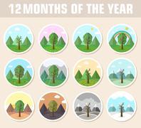 season icon set of nature tree background - stock illustration